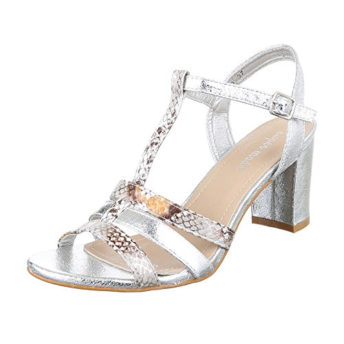 Ital-Design - Sandalias Romanas Mujer plata