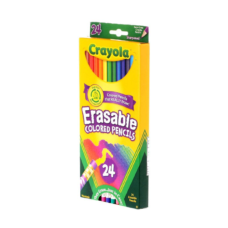 Line Art /& More 682424 Gradation Crayola Erasable Colored Pencils Fully Erasable Pencils Colored Pencil Set for Adult Coloring Books or Kids 4 /& Up 24 Non-Toxic Great for Shading Pre-Sharpened