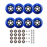 Rollerex Inline Skate/Rollerblade Wheels VXT500 80mm (8-Pack or 2-Pack or 2 Wheels w/Bearings, Spacers and Washers) (80mm Deep Sea Blue (8 Wheels w/Bearings, spacers and washers))