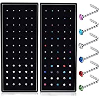 Fystir 20G L Shaped Nose Ring Studs Piercings Jewelry Stainless Steel 1.5mm 2mm 2.5mm 60-120 Pcs
