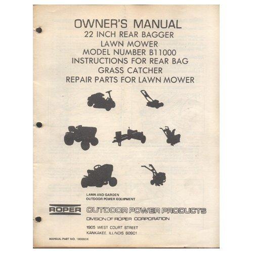 """Original 1983 Roper Owner's Manual 22"""" Lawn Mower Model Manual No. B11000 Manual Part No. 103083X"""