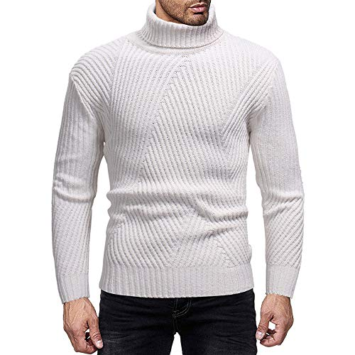 Elogoog Mens Casual Basic Thermal Turtleneck Long Sleeve Slim Fit Cable Knitted Sweaters Pullover (M, White)