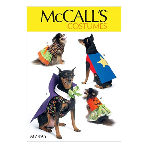 McCall's M7495 Dog Clothing Cape Costume Sewing Pattern, Sizes S-XXL