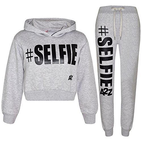 A2Z 4 Kids Kids Girls Tracksuit Designer #Selfie Hooded Crop Top & Bottom Jog Suit 5-13 Yr