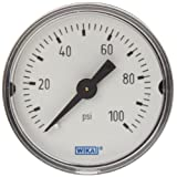 WIKA 9690234 Commercial Pressure Gauge, Dry-Filled, Copper Alloy Wetted Parts, 1-1/2
