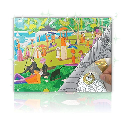 Glintarts Masterpiece - Georges Seurat 'Sunday Afternoon on the Island of La Grande Jatte' - new coloring art sticker for everyone - includes 36 color papers - stress relieving