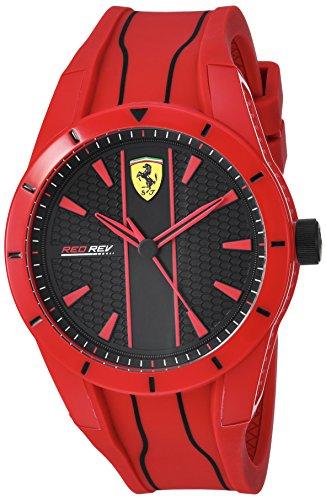 Ferrari Men's 'Red Rev' Quartz Plastic and Silicone Casual Watch, Color:red (Model: 830496)