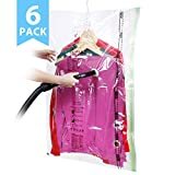 VICOODA Storage Bags, Reusable Hanging Vacuum Storage Bags for clothes, Save 3x More Storage Space, Double Zip Seal, Odour & Mold Resistant, Travel Hand Pump Included, 6 Pack, 41.3 x 27.6 inch