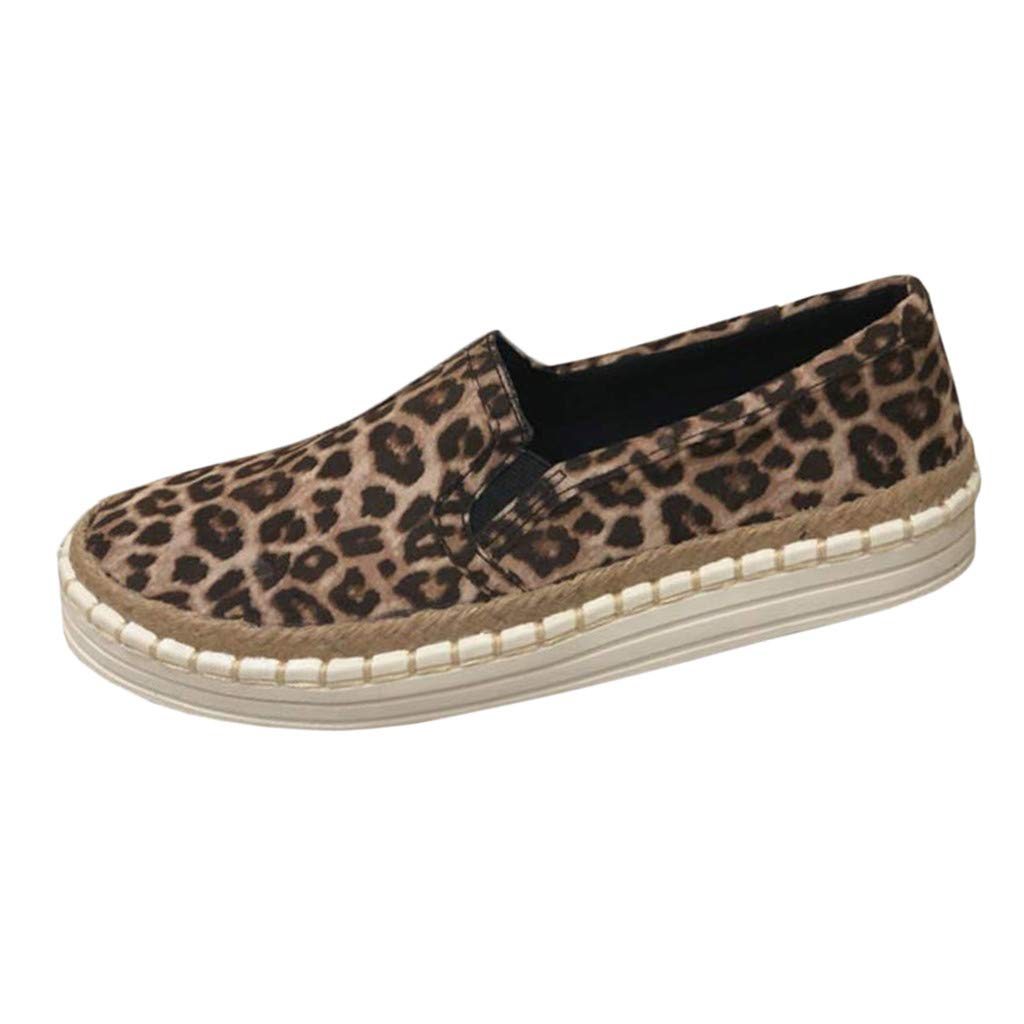 Cenglings Women's Platform Shoes, Ladies Round Toe Leopard Print Slip On Flat Loafers Espadrilles Office Canvas Shoes Brown by Cenglings