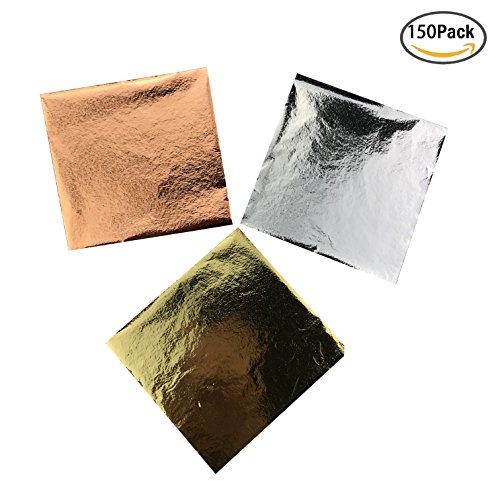 Silver Leaf Painting Picture (Gold Foil Leaf Paper, Rose Gold Foil Leaf Paper, Silver Foil Leaf Paper for DIY Arts, Gilding Crafts, Decoration, 150 sheets by CSPRING)