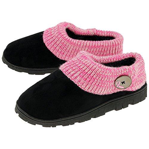 Pink Ribbon Comfy Clog Slippers (11, Pink)