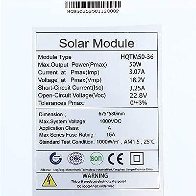Flexible Solar Panels 50W Lightweight Photovoltaic Module Bendable Monocrystalline for RV Boat Camer : Garden & Outdoor