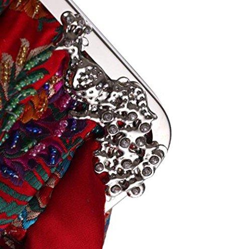 pour Rétro formelles bal Occasions soirée paquet de d'embrayage dîner Red sac dames de broderie à main la mariage qXXxvY6
