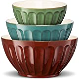 KooK Color Ceramic Mixing/Serving Bowls, Nesting, Set of 3