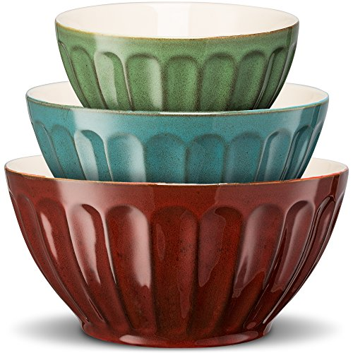 KooK Color Ceramic Mixing/Serving Bowls, Nesting, Set of 3