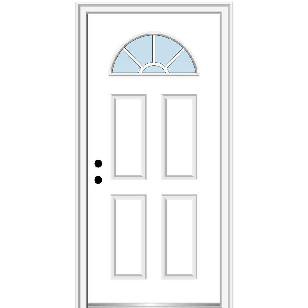 National Door Company ZZ00717R Steel Primed, Right Hand in-Swing, Prehung Front Door, Wagon Wheel 1/4 Lite 4-Panel, Clear Glass, 30