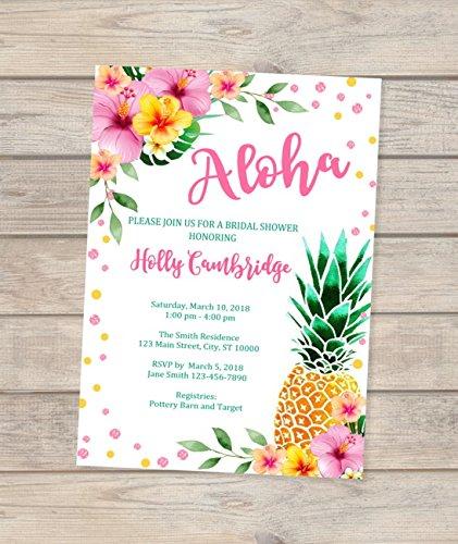 Amazon tropical bridal shower invitations luau pineapple tropical bridal shower invitations luau pineapple bridal shower invitations hibiscus bridal shower invitations filmwisefo