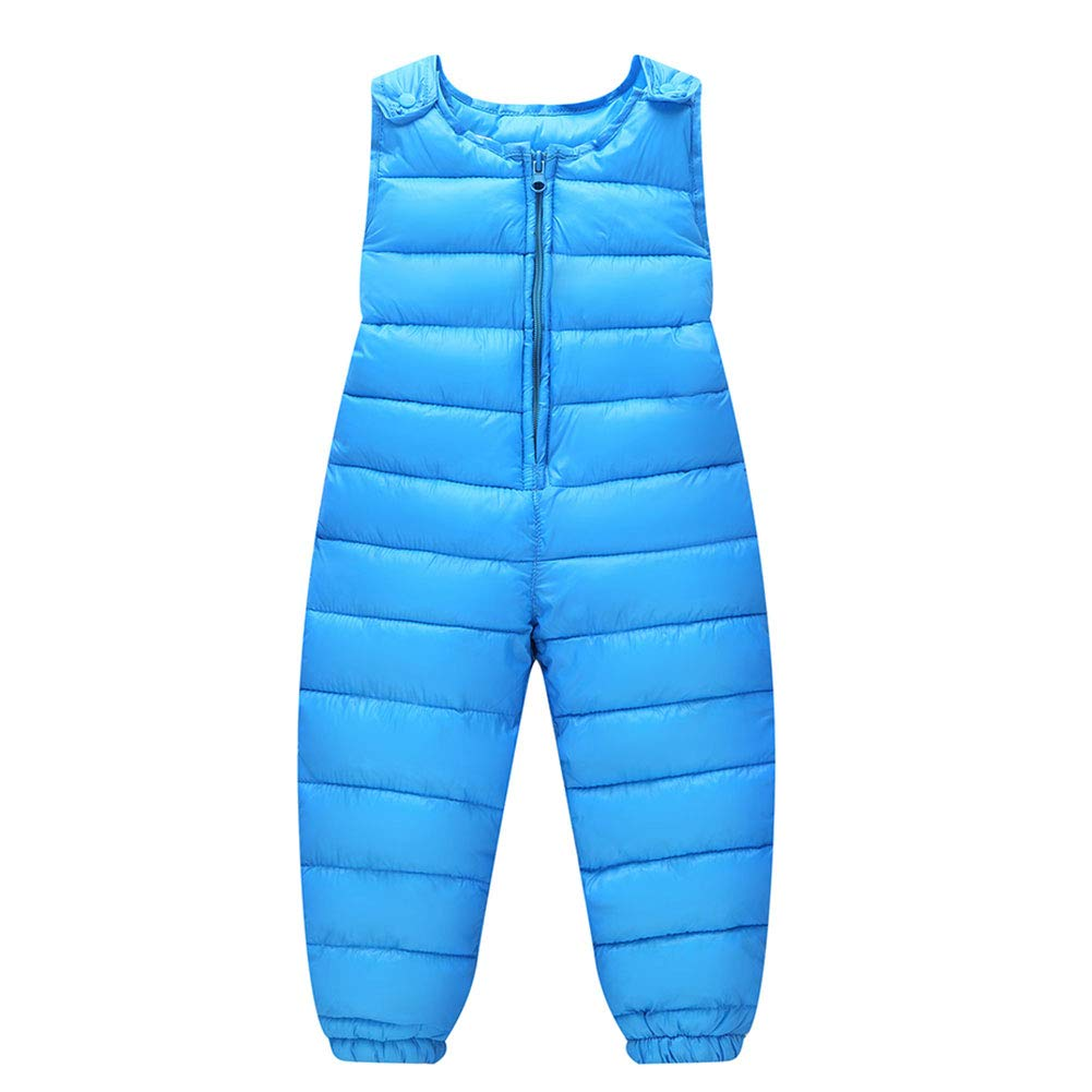 LSERVER Unisex Baby Girl Boy Down Cotton Ski Bib Pants Kid Winter Warm Zipper up Snow Trousers Toddler Lightweight Windproof Outerwear