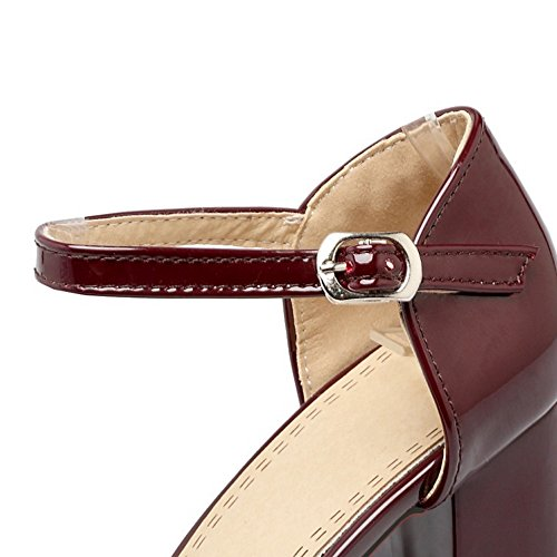 COOLCEPT Mujer Moda Al Tobillo Sandalias Cerrado Tacon Ancho Zapatos Wine Rojo