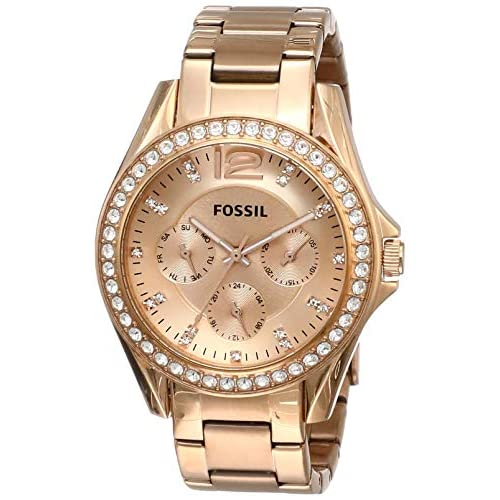 Fossil Women's Riley Stainless Steel Crystal-Accented...
