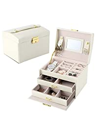 Lychee Jewelry orgnizer Beautiful Leather Jewelry Box Case Storage Organizer with Mirror Earring Necklace,Ring Display Gift for Christmas Xmas Mother's Day,GF,Wife. (Beige)