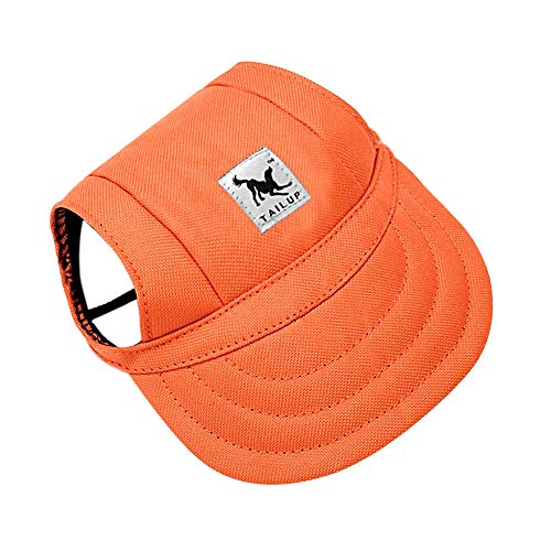 (Happy Hours - Fashion Small Pet Dog Cat Baseball Visor Sports Hat Cap Puppy Summer Baseball Outdoor Ear Holes Sunbonnet Outfit Elastic Leather Neck Strap 6 Colors 2 Sizes Available(Orange,Size)