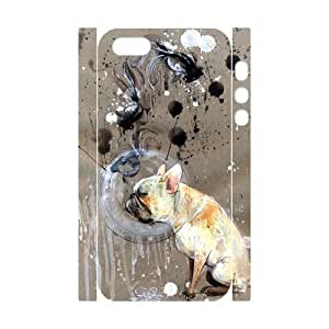 3D Abstract Dog Painting IPhone 5,5S Cases, Iphone 5s Cases for Teen Girls Protective Funny Tyquin - White