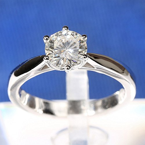 Gowe 3mm Largeur 1carat CT f fiançailles de couleur Lab Cultivées Charles en diamant solide 14K Or blanc 585pour femme