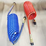 """15' RED AND BLUE COIL COILED AIR LINE HOSE SET - TRAILER BRAKE - 1/2"""" Fittings"""