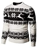 H2H Mens Casual Slim Fit Knitted Crew Neck Sweaters Thermal of Various Christmas Pattern White US S/Asia M (CMOSWL055)