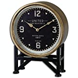 16'' Kerala Industrial Style Table Clock with Aged Brass Frame and Black Stand