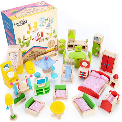 Imagination Generation The Fully Furnished Bundle: 5 Sets of Colorful Wooden Dollhouse Furniture (41 Pieces) (Paint Pottery Bathroom Colors Barn)