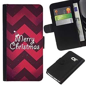 All Phone Most Case / Oferta Especial Cáscara Funda de cuero Monedero Cubierta de proteccion Caso / Wallet Case for Samsung Galaxy S6 EDGE // Christmas Chevron Red Purple Xmas