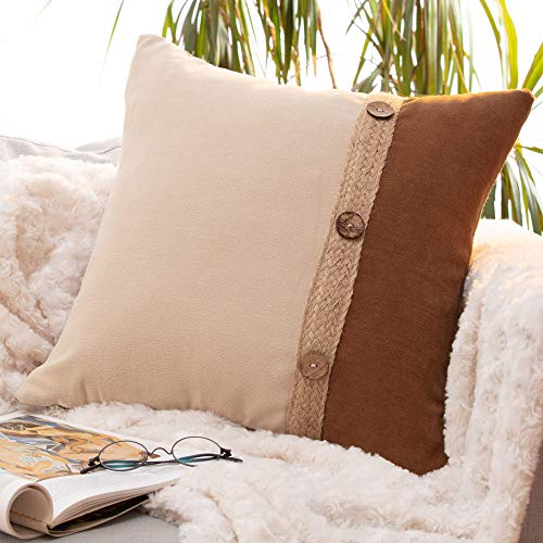 Farmhouse Pillows Throw Pillow Covers - Fall Rustic Boho Chic Home Farmhouse Decor Decorative Accent Cushion Cases Invisible Zipper for Couch Sofa Bedroom Car Soft Velvet Burlap Brown Cream 18x18 Inc.
