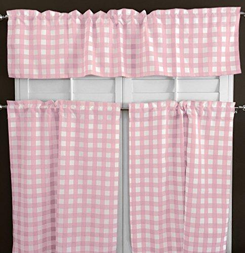 lovemyfabric 100% Polyester Gingham Checkered Plaid Design 3 Piece Kitchen Curtain Tier/Valance Window Treatment Set (Pink) ()