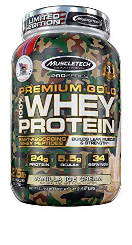 - Muscletech Mt Pro Series Premium Gold Whey Protein Bonus Vanilla Ice Cream, 2.88 Pound- Limited Edition camo