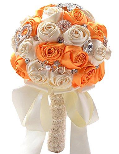 MerryJuly Wedding Flowers Bridal Bouquets Elegant Pearl Bride Bridesmaid Wedding Bouquet - Bridal Bouquet Orange