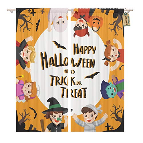 Golee Window Curtain Children Dressed in Halloween Fancy Dress to Go Trick Home Decor Rod Pocket Drapes 2 Panels Curtain 104 x 84 inches -
