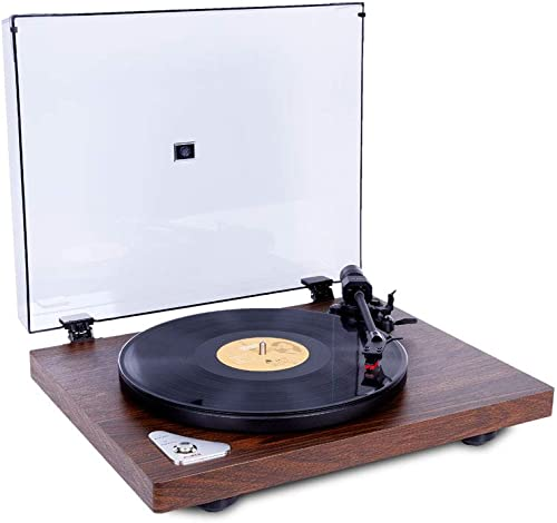 Idealforce Wood Grain Plinth Turntable Record Player, Wireless Turntable Hi-Fi System Audio Phonograph Modern Fashion Vinyl Record Player with Moving Magnet Cartridge