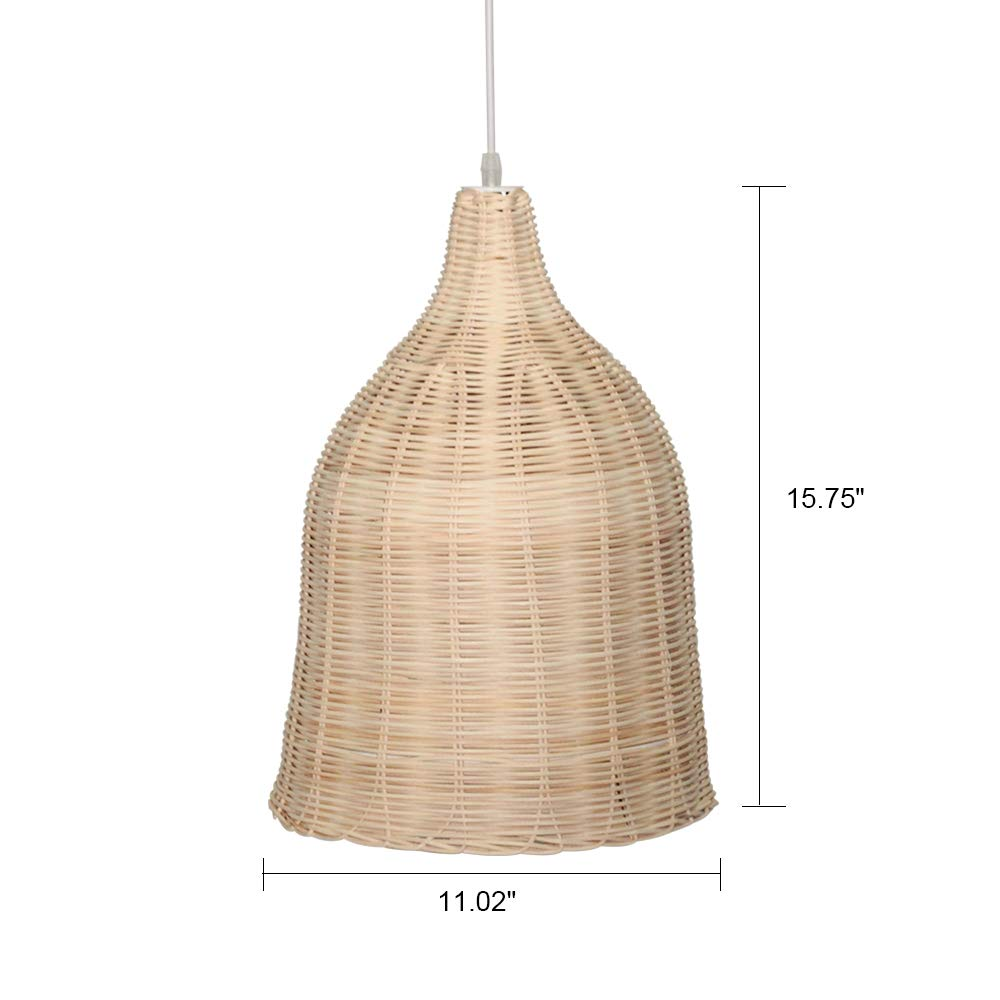KIRIN Bamboo Rattan Weave Hanging Lamp E26 Pendant Light Nordic Chandelier for Kitchen Bedroom Living Room Restaurant Hotel Fixture 2 Pack 11 Dia