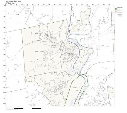 Amazoncom ZIP Code Wall Map of Northampton MA ZIP Code Map