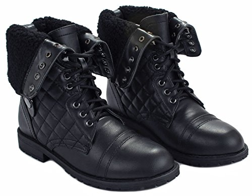 Cuff Lace Zipper Up Black Women Back Plaid Military Faux Combat Leather Boots lined fur Quilted Foldable 4awUtxvnaq
