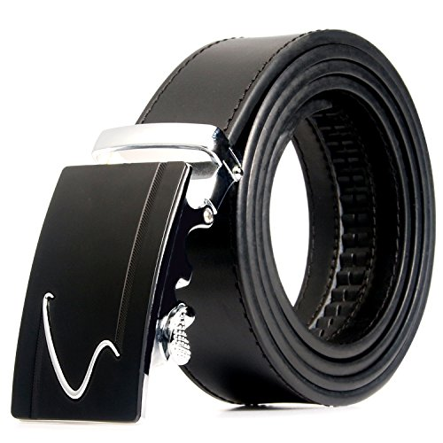Men's Genuine Leather Belt with Automatic Buckle, Black/Brown, 35mm wide 1 3/8 inch-Great Gift Idea (Black plain-style 3)