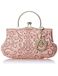 MG Collection Adele Embroidered Seed-Beaded Evening Purse