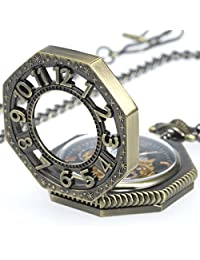 WENSHIDA Roman Old Railroad Style Bronze Octagon Antique Mechanical Skeleton Pocket Watch With Chain