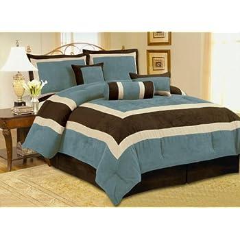 Amazon Com 7pc Soft Micro Suede Comforter Set Bedding In