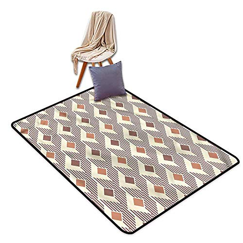 Classroom Rug,Geometric Squares and Stripes,Children Crawling Bedroom Rug,3'11