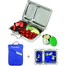 PlanetBox SHUTTLE Eco-Friendly Stainless Steel Bento Lunch Box with 2 Compartments for Adults and Kids - Blue Carry Bag with Aliens Magnets