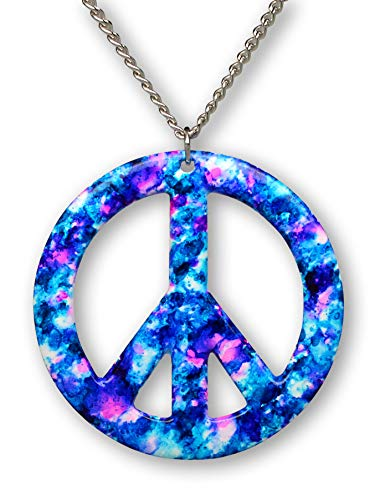 Real Metal Purple Blue Hippie Tie Dye Peace Sign Enamel on Pewter Pendant Necklace (Large)
