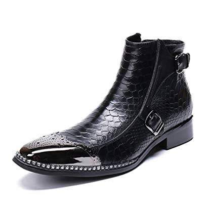 Mens Leather Ankle Boots Martin Knight Motorcycle Military Pointed Toes Shoes